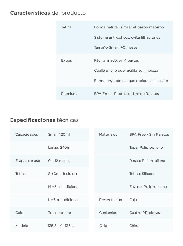 Mamaderas Baby Innovation - Características y especificaciones técnicas